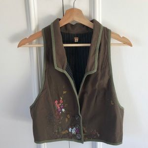 Free People Embroidered Cropped Button Down Vest
